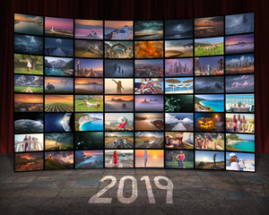 2019 year and technology concept as video wall