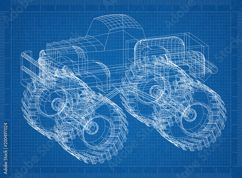 Monster truck 3d blueprint stock photo and royalty free images on monster truck 3d blueprint malvernweather Gallery