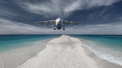 Passenger plane flying low in an attempt landing