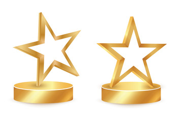 Gold star award on blank trophy. Reward icon isolated on white background. Star reward . Vector illustration. Concept of success or victory.