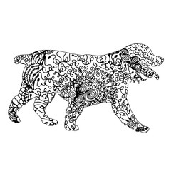zentangle silhouette of a dog
