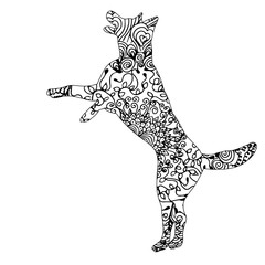 zentangle silhouette of dog on white background