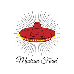 Red sombrero. Mexican food badge.  illustration isolated on white