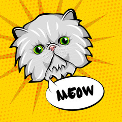 Cute cat head pop art. Isolated on yellow background.