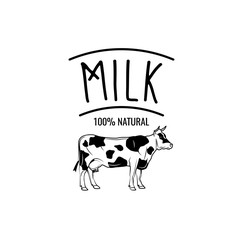 Cow Milk Badge. label  illustration isolated on white