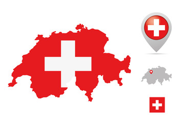 Switzerland map in national colors, flag and marker