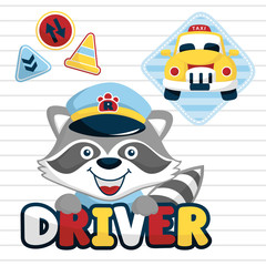 funny taxi driver cartoon vector with traffic signs on striped background