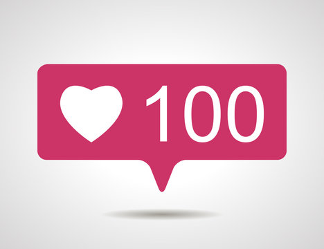 illustration of flat pink hundred like heart social media icon o