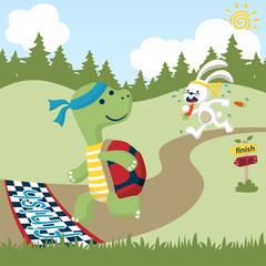 animals run race cartoon vector