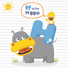 cartoon vector of learn with hippo and little duck on striped background