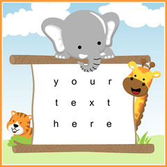 happy animals cartoon with board template. For invite card, greeting card, gift card, etc. Elephant, giraffe, tiger.