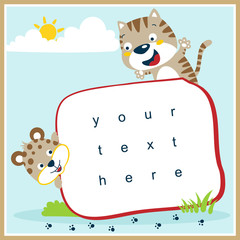 funny cats cartoon vector with paper template for greeting card.