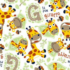 seamless vector pattern with funny giraffes cartoon