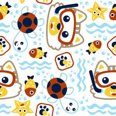 seamless vector pattern with little cat cartoon the diver, marine life, turtle, fish.