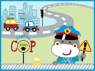 funny traffic cop cartoon vector in city road
