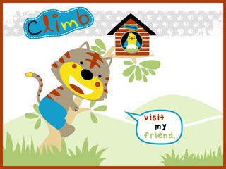 funny cat cartoon vector climb a tree to visit his friend