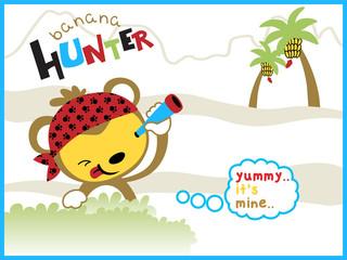 cartoon vector of the banana hunter
