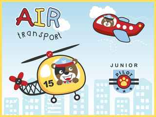 air transportations with funny pilot cartoon vector