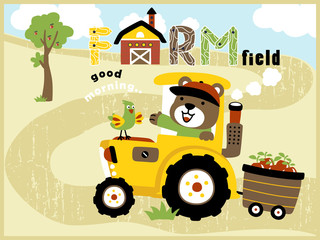 cartoon vector of cute farmer on yellow tractor