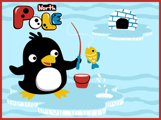 cartoon vector of penguins fishing time