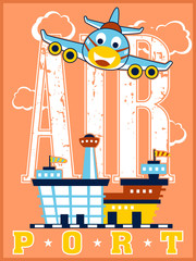 Funny plane cartoon vector ready to landing in a airport. Education for kids
