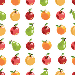 apples pears oranges. seamless pattern