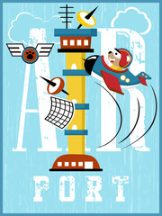 airport control tower cartoon vector with funny pilot on plane. Learn to read, education for kids.