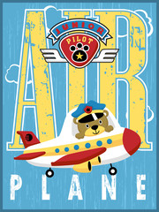 Airplane and logo cartoon vector with little pilot on alphabet background