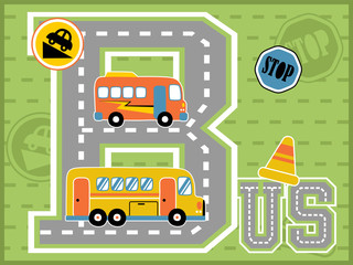 Learn to alphabet with buses cartoon vector