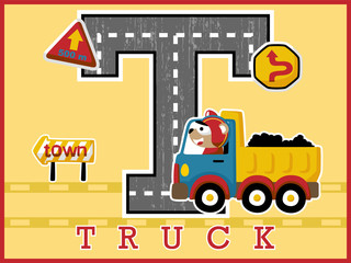 truck cartoon vector with funny driver, traffic signs. Learn to alphabet, spell, read.