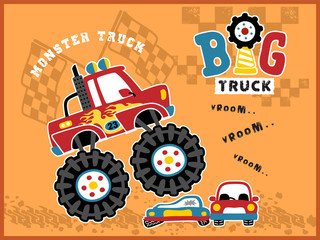 Big truck cartoon vector in action