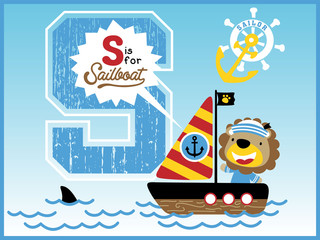 sailing with funny sailor cartoon vector, little sailboat