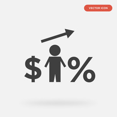 dollar icon isolated on grey background, in black, vector icon illustration