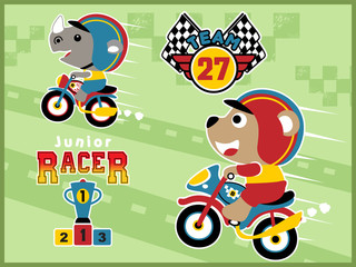 cartoon vector of motorcycle racing with funny animals