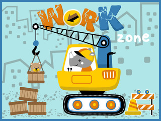 Heavy equipment cartoon vector. Little animals on work zone with heavy tool