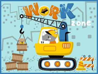 Heavy equipment cartoon vector. Little animals on work zone with heavy tool