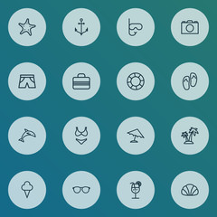 Season icons line style set with bikini, dolphin, shorts and other handbag  elements. Isolated vector illustration season icons.