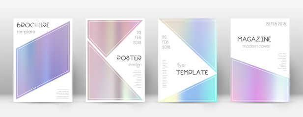 Flyer layout. Triangle beautiful template for Brochure, Annual Report, Magazine, Poster, Corporate Presentation, Portfolio, Flyer. Bizarre pastel hologram cover page.