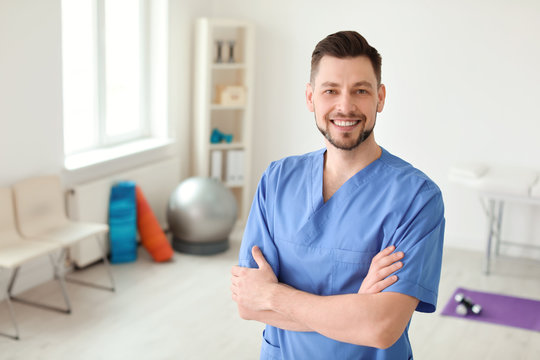 Young physiotherapist in rehabilitation center