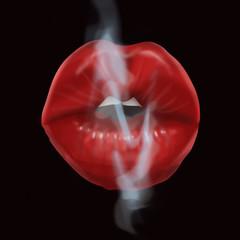Beautiful plump lips exhale cigarette smoke