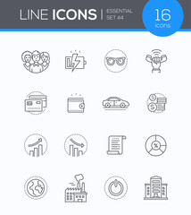 Business concepts - modern line design style icons set
