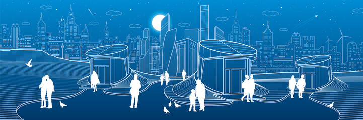 Modern city architecture infrastrucrure. Entrance to the underpass. Futuristic urban illustration. People walking at street. Airplane fly. Night town. Vector design art
