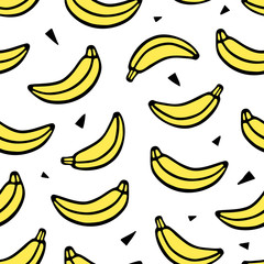Banana seamless vector pattern in sketch style. Hand drawing print on white background.
