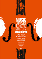 Poster idea for music event, with symbols of the violin or double bass instrument. Symbols with spots. Of artistic background.