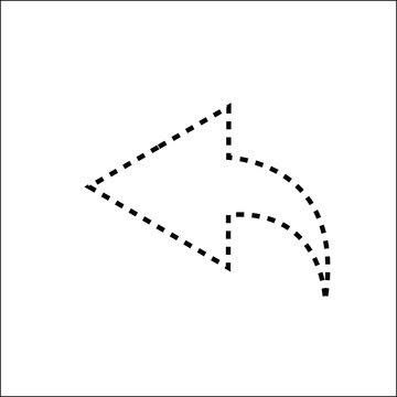 Arrow left line icon on white background.