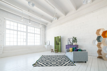 Bright photo studio or living room interior with big window, high ceiling, white wooden floor, modern sofa other furniture