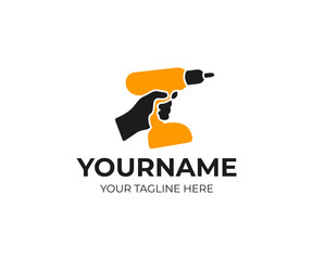 Hand holds rechargeable, cordless, electric drill and screwdriver, logo template. Construction, repair and power tool, vector design. Work and professions, illustration