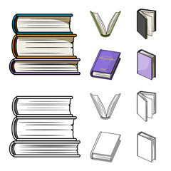 Various kinds of books. Books set collection icons in cartoon,outline style vector symbol stock illustration web.