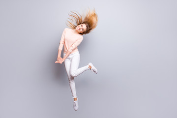 Beauty fashion romantic people person emotion feelings expressing concept. Full-length full-size portrait of excited careless lovely sweet adorable pretty lady jumping up isolated on gray background