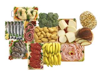 Alimenti italiani, carne, pesce, frutta, formaggi e ortaggi